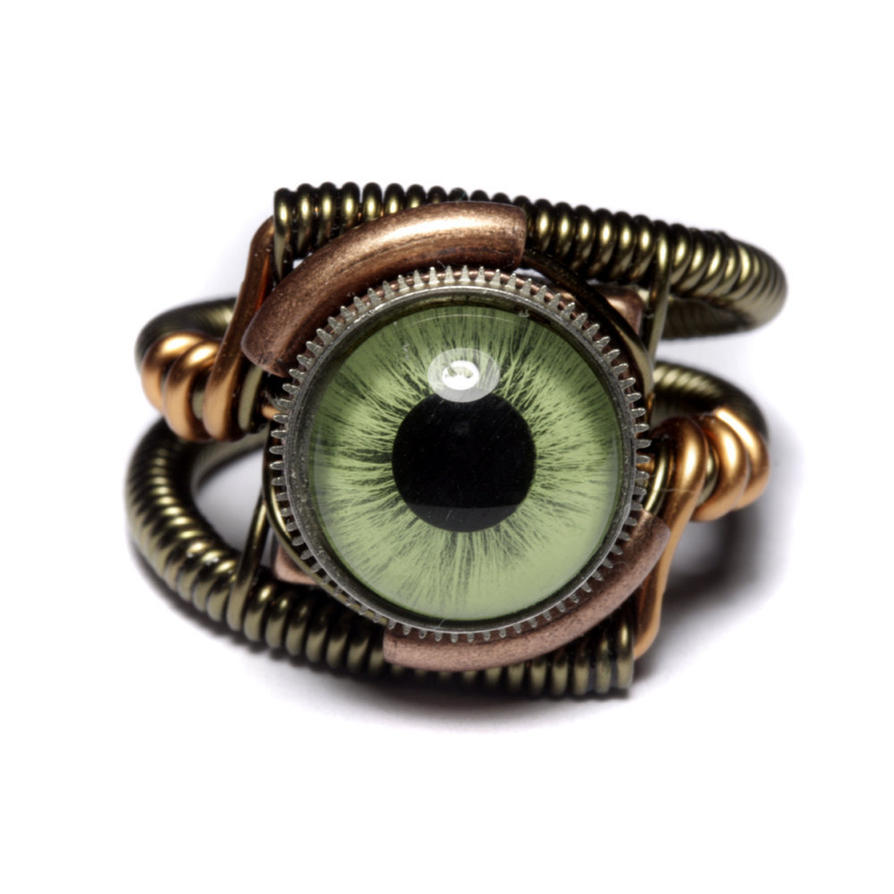Steampunk Green Eye Ring copper bronze mix by CatherinetteRings