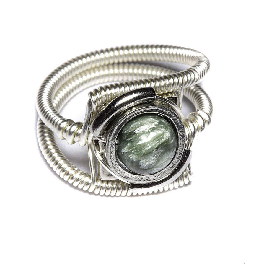Cyberpunk Ring seraphinite Silver tone by CatherinetteRings