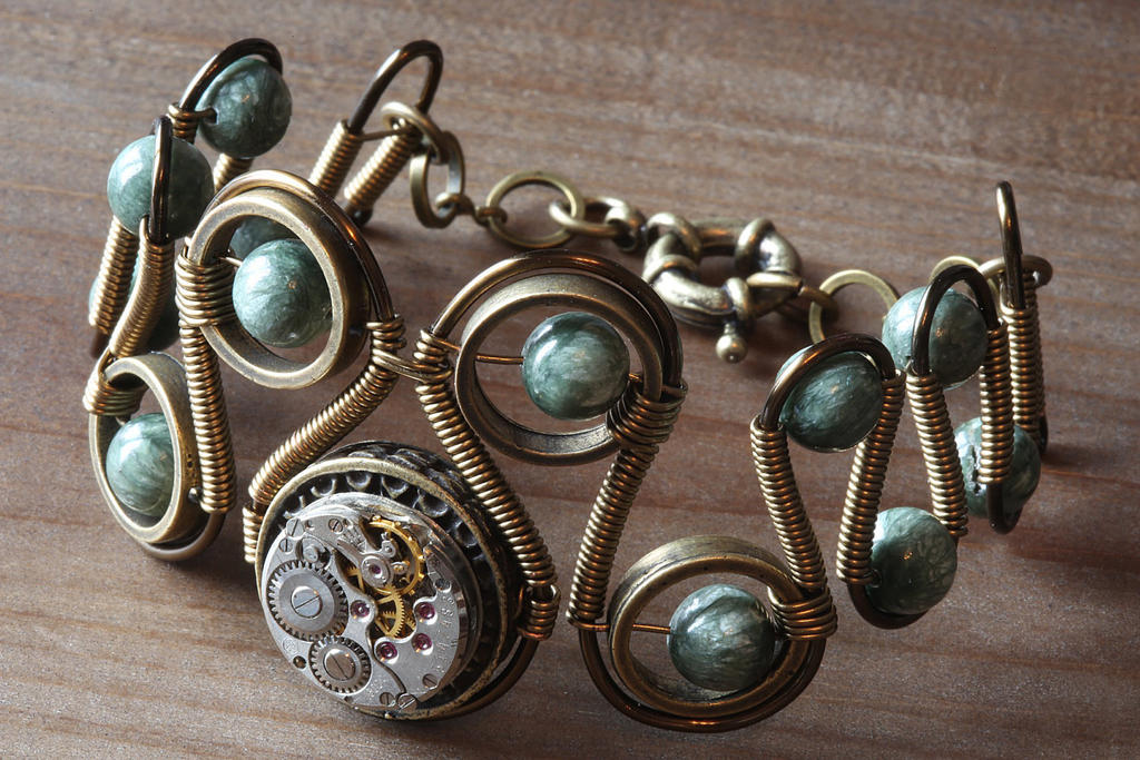 Steampunk bracelet with Seraphinite by CatherinetteRings