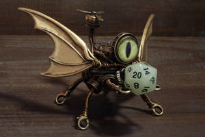Steampunk robot dice buddy with green eye by CatherinetteRings