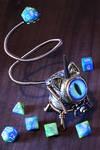 Steampunk Caticorn with blue green eye