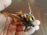 Flying Cat Robot Golden Copper Eye