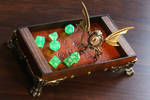 Modron sculpture and dice rolling tray - Steampunk by CatherinetteRings