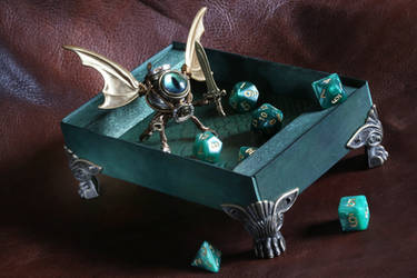 Steampunk Modron with dice rolling tray, green