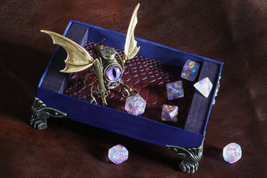 Steampunk Modron with dice rolling tray - Purple
