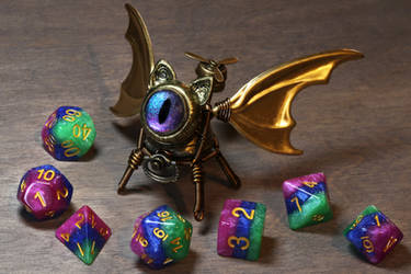 Bat-Cat Dice Guardian with iridescent eye by TheWizardsVault