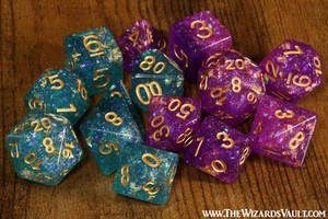 Galactic Ocean and Orchid Dice Set