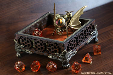 Gnome Artificer Dice Tray with Bat Cat