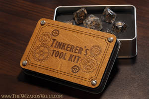 Tinkerer's tool kit dice set and box.