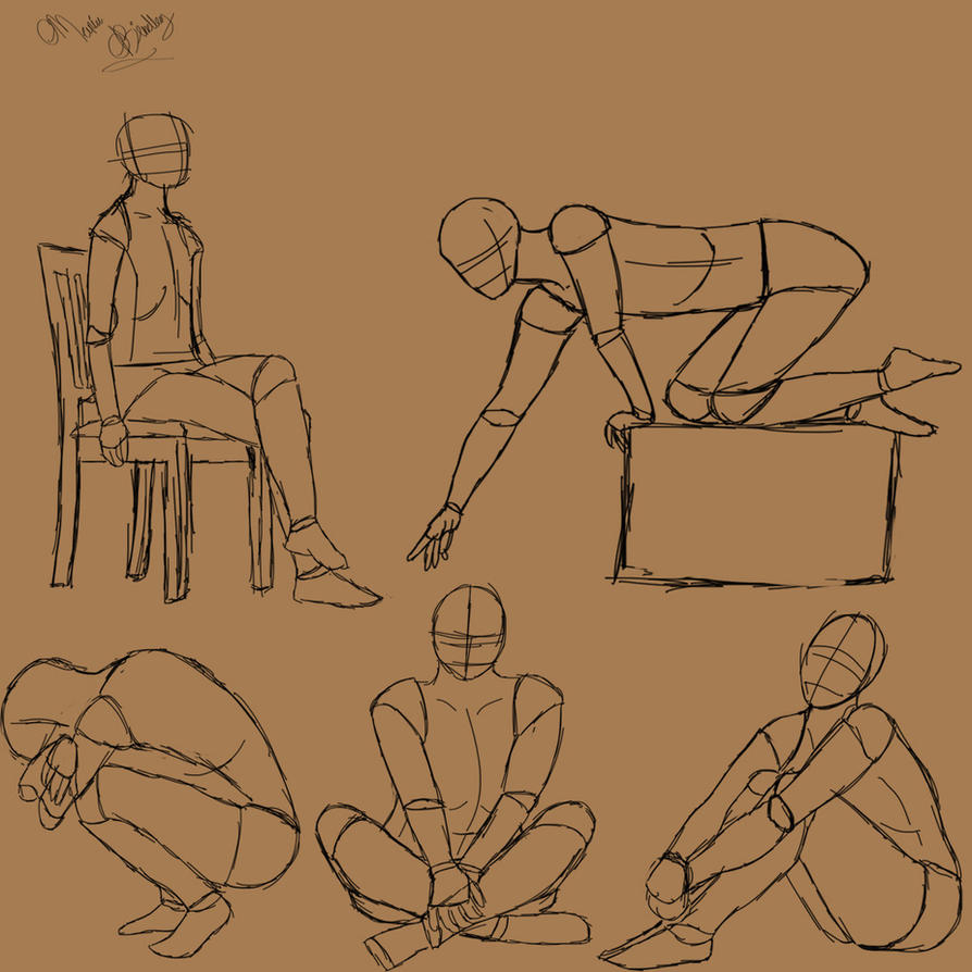 Sitting poses by Orlilu
