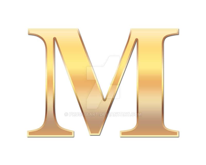Golden Letter M By PRUSSIAART