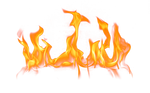 Flames on a transparent background.
