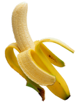 Ripe banana on a transparent background.
