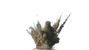The explosion of the projectile.