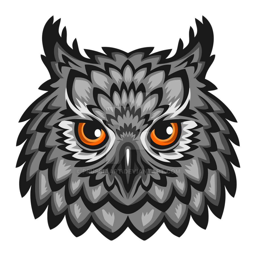 Head of an owl on a transparent background. by PRUSSIAART