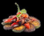 Fried vegetables on a transparent background.