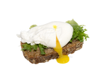 Poached egg on a transparent background.