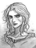 Ciri sketch (retouched) by sorrowofdestiny