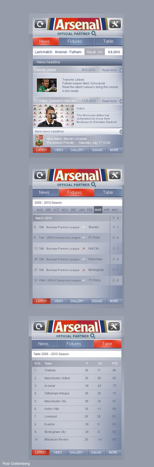 Arsenal app by RC-man-Design