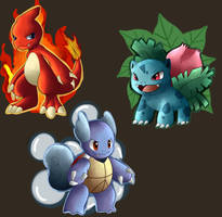 charmeleon, wartortle and ivysaur by hikariviny