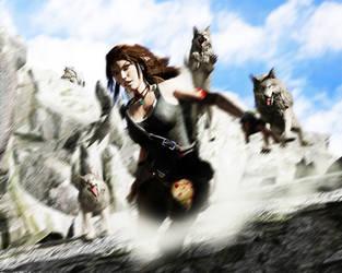 Lara vs Wolf pack by luciferFlash