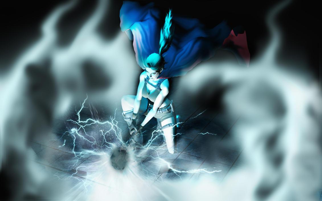 Lara and Mjolnir by luciferFlash