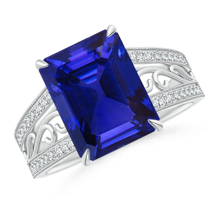it and all ring rings tanzanite emerald for diamonds setting women claw round surrounding gold diamond white in a an cut with centre brilliant