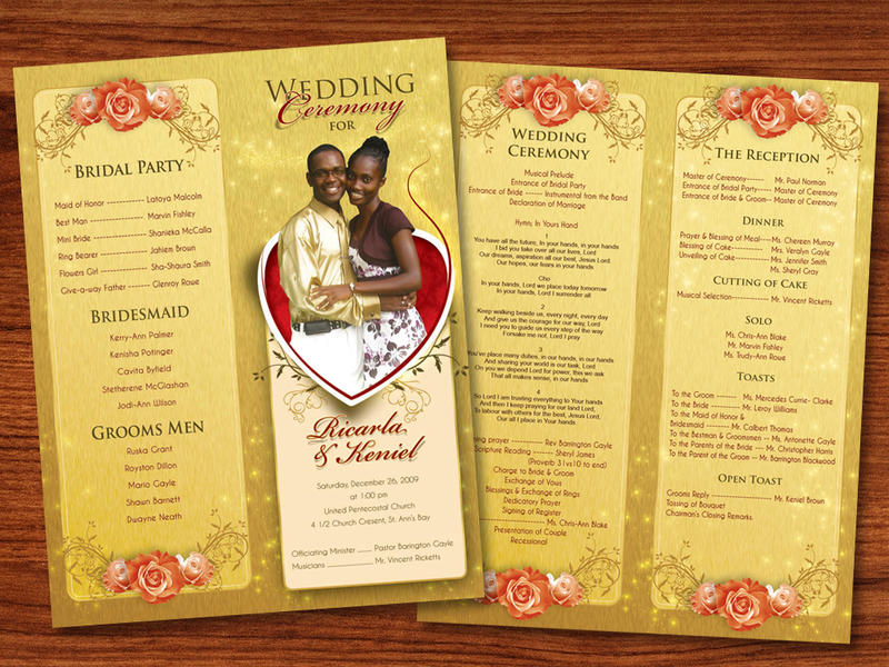 Design For Wedding Programs Kleobeachfixco - Photoshop wedding program template