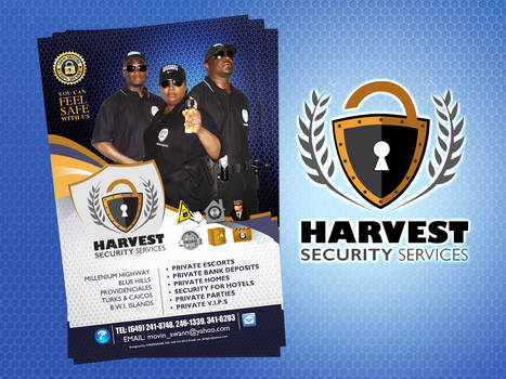Harvest security logo and flyer