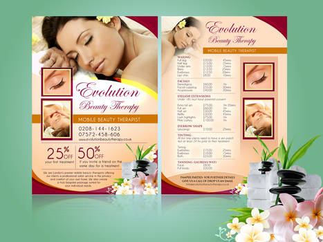 Evolution Beauty Therapy flyer