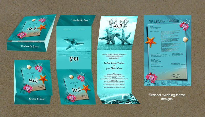 Seashell themed wedding invitation