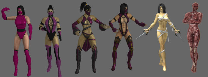 Evolution of Mileena's outfit