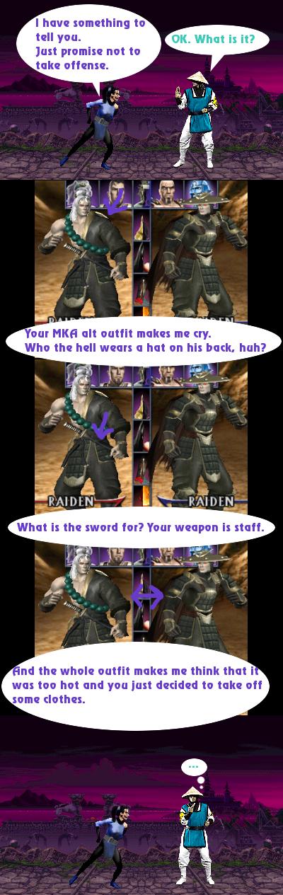 Sarah criticizes Raiden's fashion sense by Simony17y