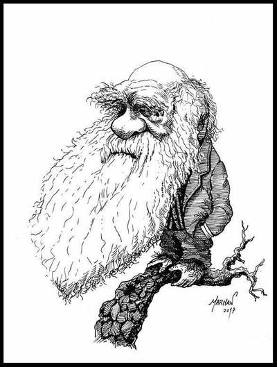 Charles Darwin caricature by Marmanillustrator