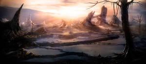 Fantasy sunset landscape