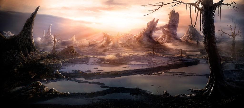 Fantasy sunset landscape by NatMonney