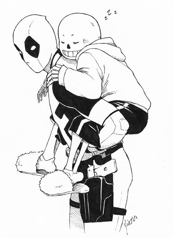 Inktober - Deadpool and Sans