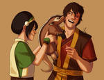 Toph, Zuko, and the Badgermole
