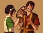 Toph, Zuko, and the Badgermole