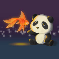 Panda and Fish by BlooGuy
