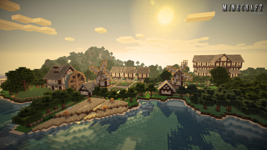 Minecraft Wallpaper - Beach Farm by Lilcrowstudios