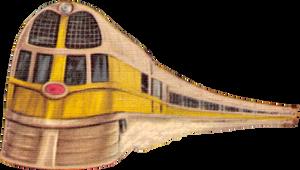 Streamliner in orange grove (stock)