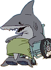 Cute Shark in wheelchair Icon ultrabig by linux-rules