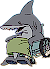 Cute Shark in wheelchair Icon big by linux-rules