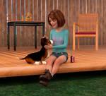 Petting Her Dog