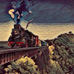 Steam train crossing a raised lane (Fauvism style) by cibervlacho