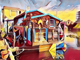 Floating house on river (Pop Art style). by cibervlacho