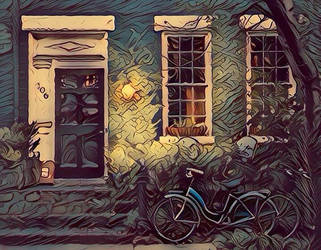 Bicycles in front of old house (Fauvism style). by cibervlacho