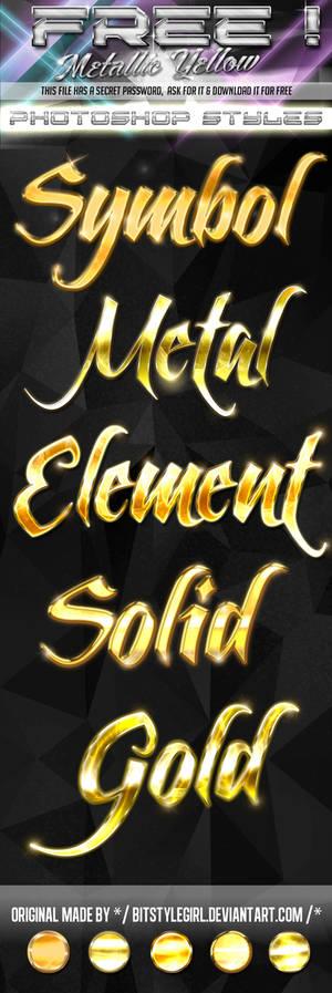 FREE Photoshop Styles - Gold Metallic Yellow