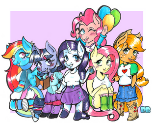 Mane Six Anthro Chibis by PoneBooth